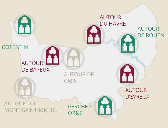 Carte des Abbayes de Normandie